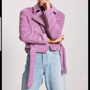 Forever 21 Fuzzy Purple Moto Biker Jacket